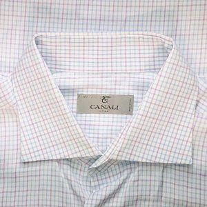 Canali 1934 Silver Label White Micro Check shirt